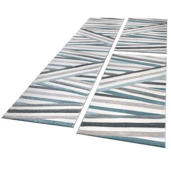 Bed Border Rug Contour Cut Striped Turquoise Cream Runner Set 3-piece – Bild 1