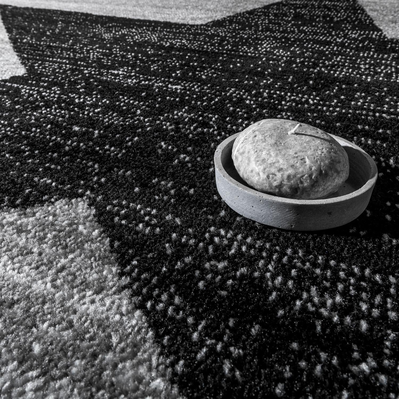 bettumrandung l ufer teppich stern motiv meliert in grau schwarz l uferset 3tlg teppiche. Black Bedroom Furniture Sets. Home Design Ideas