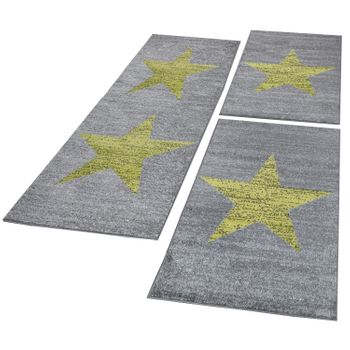 Bed Border Runner Rug Star Abstract Mottled In Green Grey Runner Set 3-Piece – Bild 1