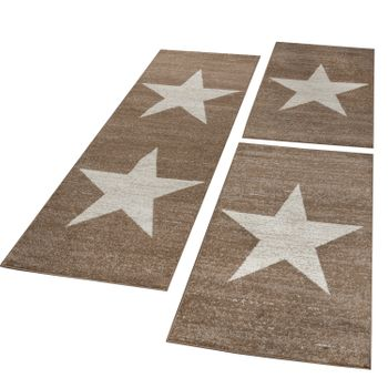 Bed Border Runner Rug Short-Pile Star Mottled Brown Beige Runner Set 3-Piece – Bild 1