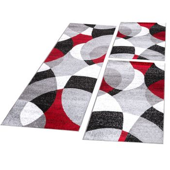Bed Border Runner Rug Modern Abstract Semicircles Red Grey Runner Set 3-Piece – Bild 1
