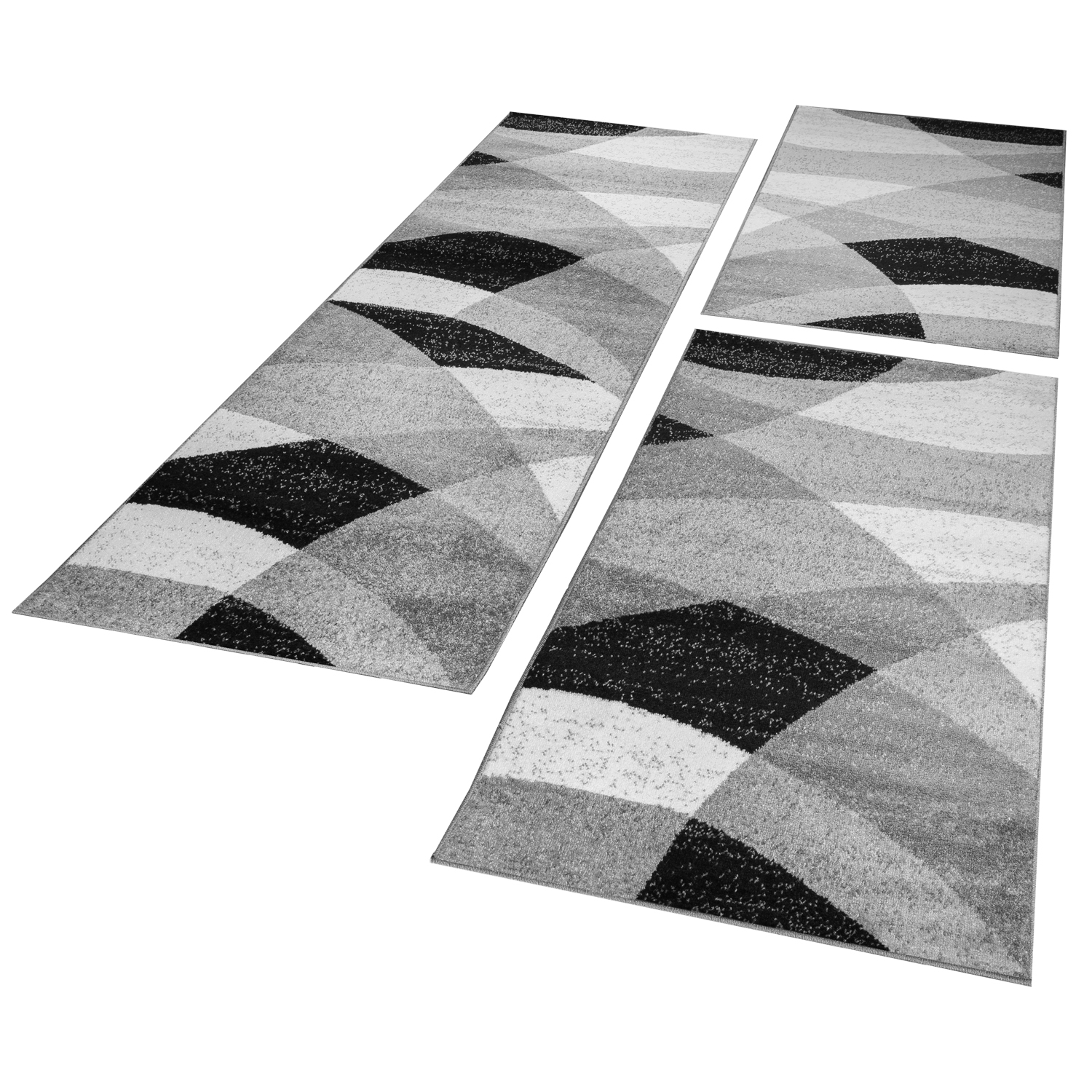 Bed Border Runner Rug Geometric Mottled Grey White Black Runner Set 3-Piece