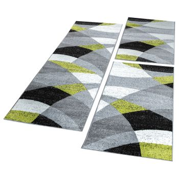 Bed Border Runner Rug Geometric Mottled Green Grey Black Runner Set 3-Piece – Bild 1