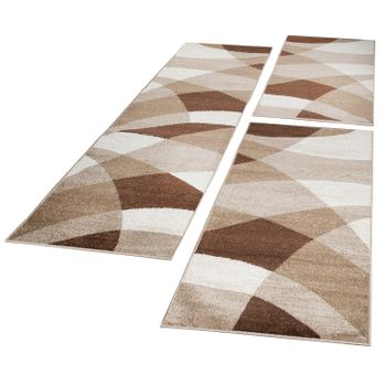 Runner Set Geometric Brown Beige