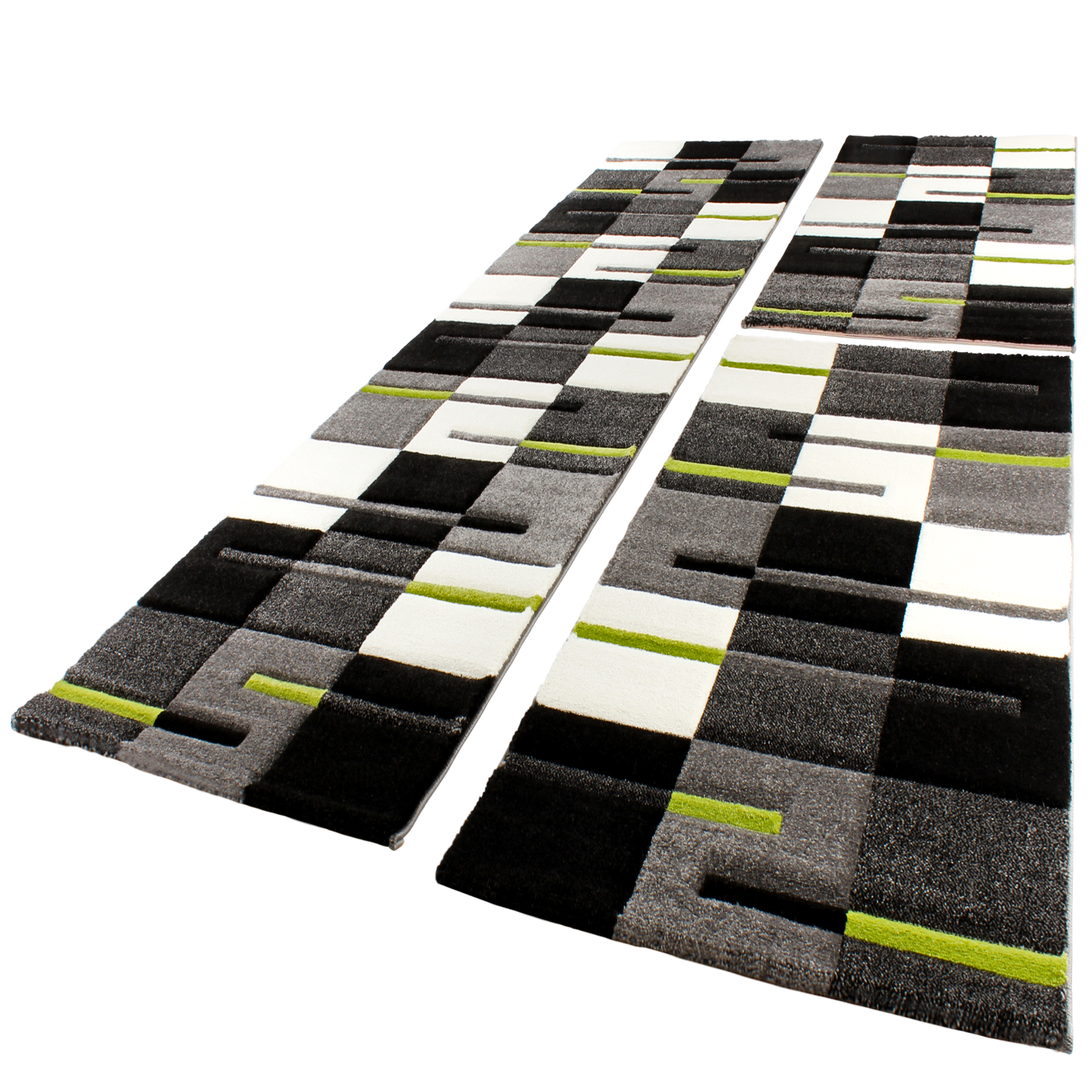Bed Border Rug Contour Cut Checked Green Grey Anthracite Runner Set 3-Piece