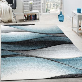 Rug Abstract Wave Design Turquoise