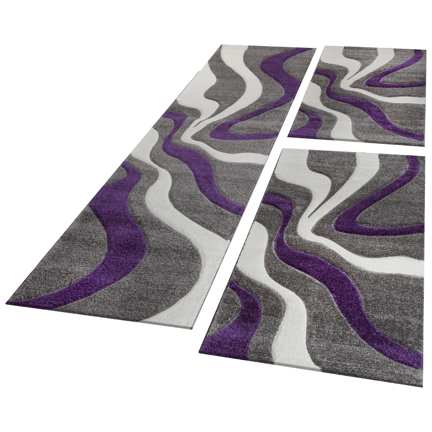Bed Border Runner Rug Wave Pattern Abstract Purple Grey White Runner Set 3-Piece