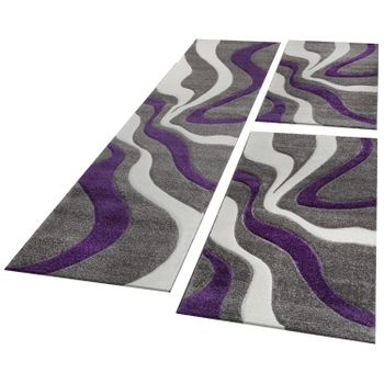 Bed Border Runner Rug Wave Pattern Abstract Purple Grey White Runner Set 3-Piece – Bild 1