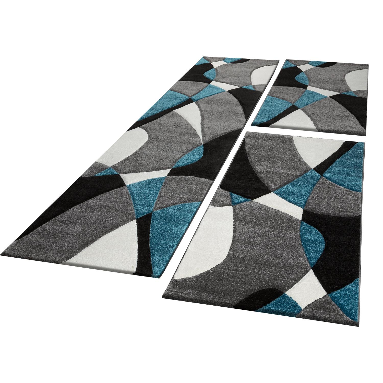 Loperset Geometrisch Turquoise Grijs