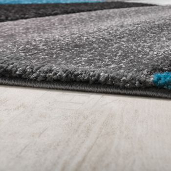 Bed Border Runner Rug Short-Pile Geometric Turquoise Grey Runner Set 3-Piece – Bild 2