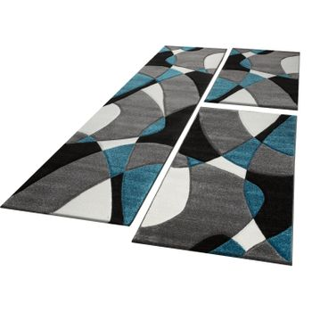 Bed Border Runner Rug Short-Pile Geometric Turquoise Grey Runner Set 3-Piece – Bild 1