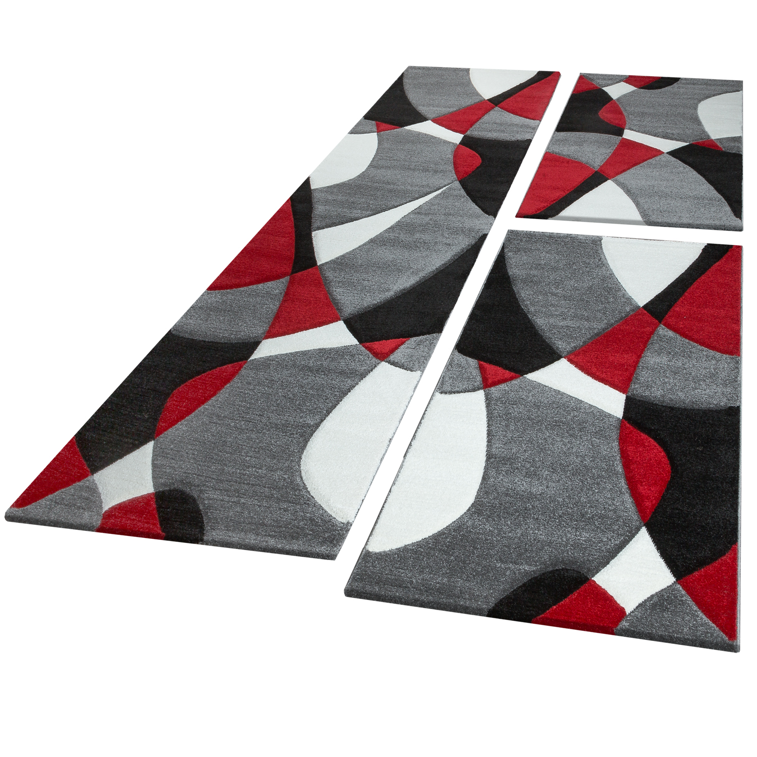 Bed Border Runner Rug Contour Cut Geometric Red Grey Runner Set 3-Piece