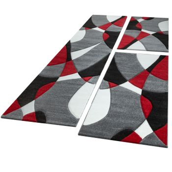Bed Border Runner Rug Contour Cut Geometric Red Grey Runner Set 3-Piece – Bild 1