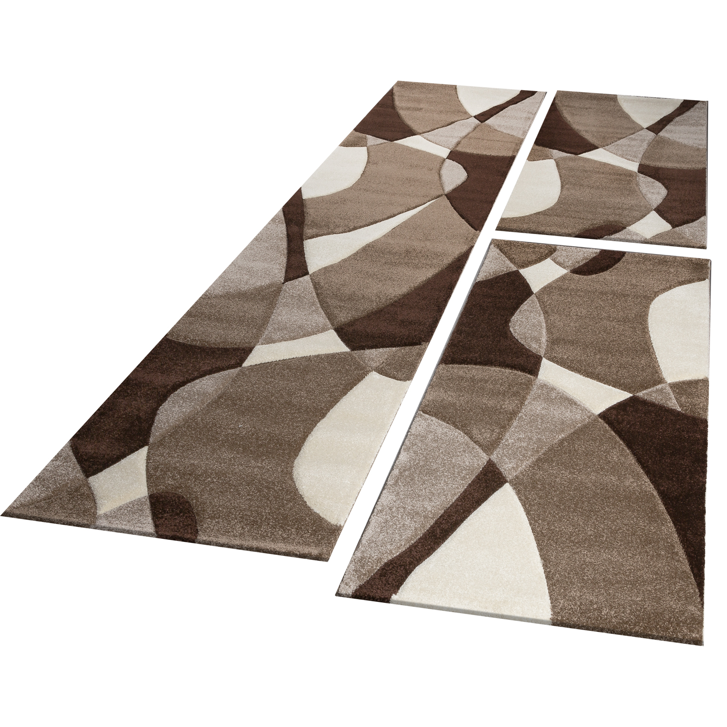 Bed Border Runner Rug Short-Pile Geometric Brown Beige Runner Set 3-Piece