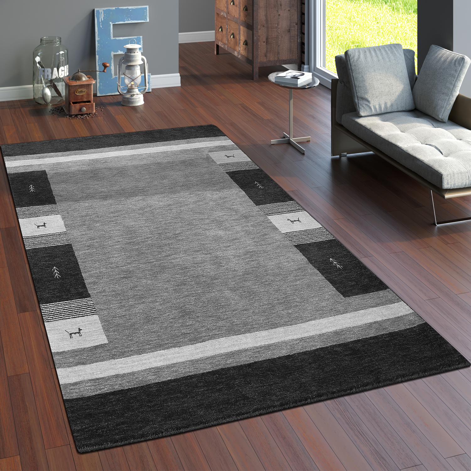 tapis fait main gabbeh haut de gamme 100 laine chin bordure en gris tapis tapis en fibres. Black Bedroom Furniture Sets. Home Design Ideas