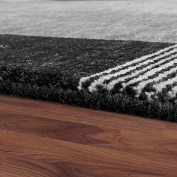 Rug, Hand-Woven, Gabbeh, High Quality,100% Wool, Subtle, Mottled, Borders In Plain Grey – Bild 2