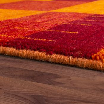 Rug Hand-Woven Gabbeh High Quality Mottled 100% Wool Checked Multicolour – Bild 2