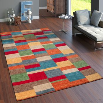 Rug Hand-Woven Gabbeh High Quality100% Wool Mottled Checked Multicolour – Bild 1