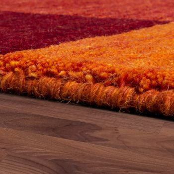 Rug Hand-Woven Gabbeh High Quality Mottled 100% Wool Border In Terracotta Orange – Bild 2