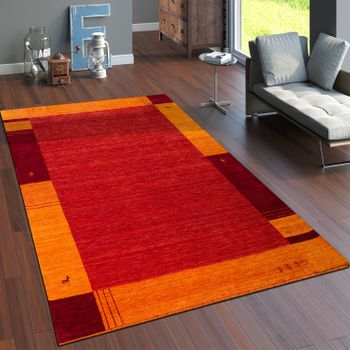 Rug Hand-Woven Gabbeh High Quality Mottled 100% Wool Border In Terracotta Orange – Bild 1