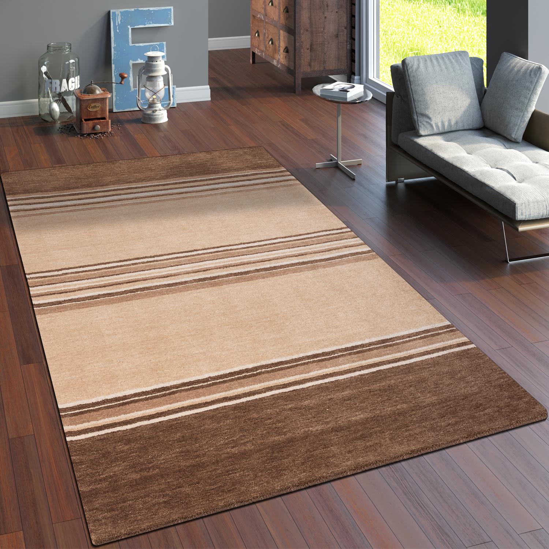 teppich handgekn pft gabbeh hochwertig baumwolle meliert streifen in beige braun teppiche. Black Bedroom Furniture Sets. Home Design Ideas