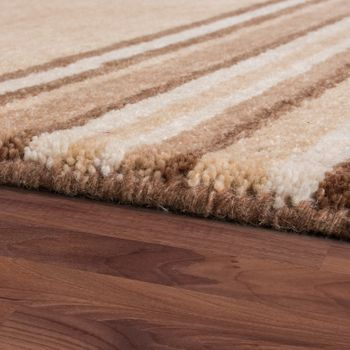 Rug Hand-Woven Gabbeh High Quality Wool Mottled Striped In Beige Brown – Bild 2