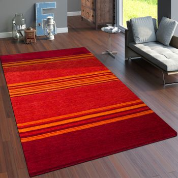 Rug Hand-Woven Gabbeh High Quality 100% Wool Striped Mottled Terracotta – Bild 1
