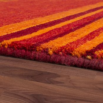 Rug Hand-Woven Gabbeh High Quality 100% Wool Striped Mottled Terracotta – Bild 2