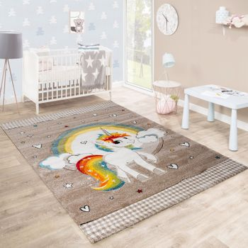 Children's Rug Children's Room Heart Rainbow Unicorn Contour Cut Beige White – Bild 1