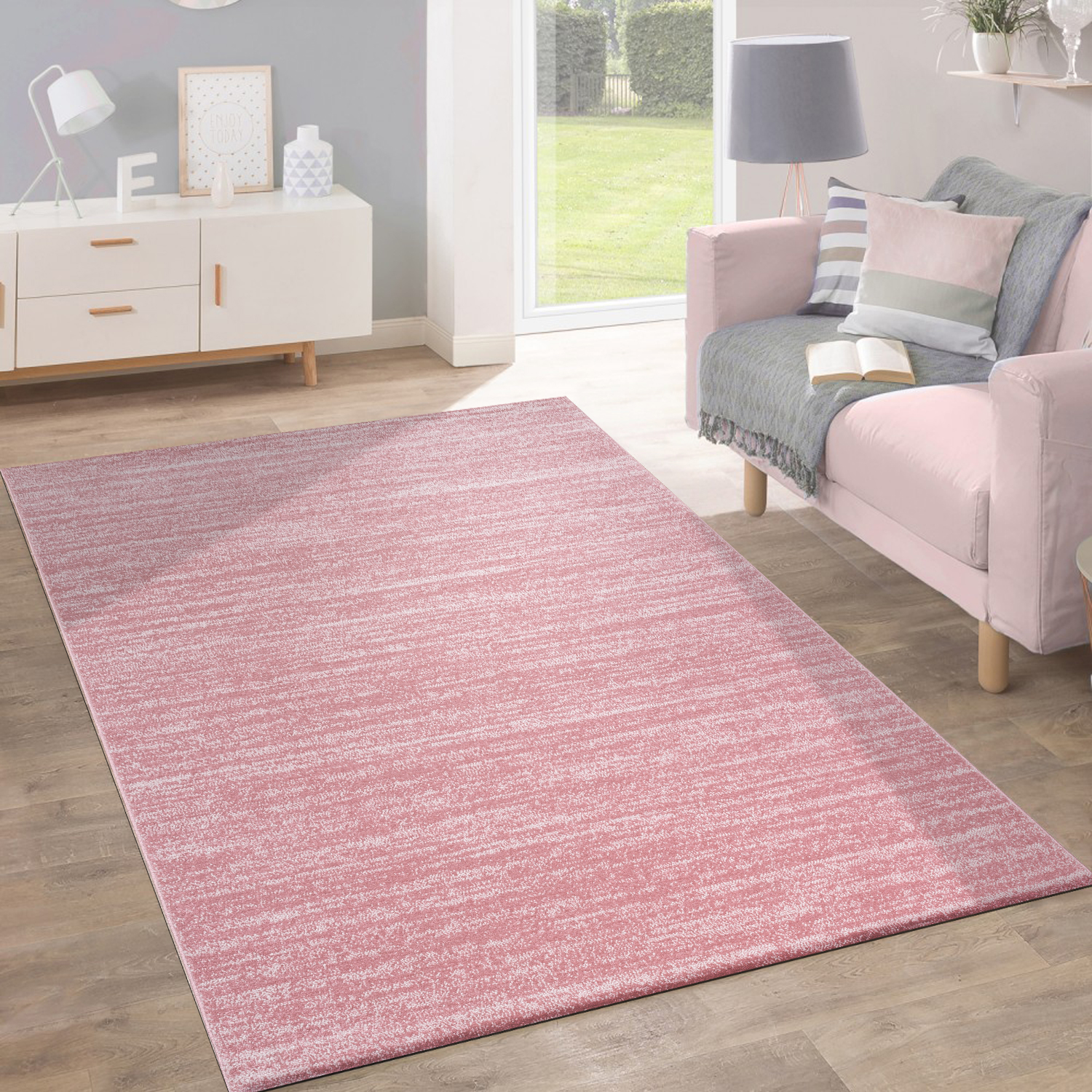 Rug Short-Pile Modern Trendy Pastel Colours Design Mottled Inspiration Pink