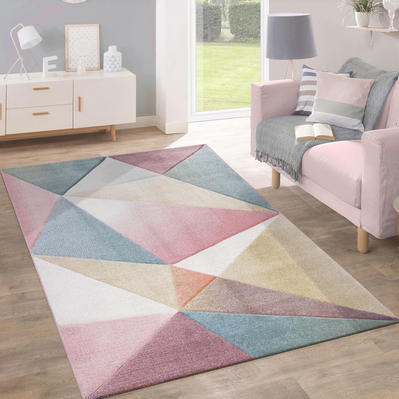 Vloerkleed Laagpolig Modern Trendy Pastelkleuren Geometrisch Design Inspiratie Multi