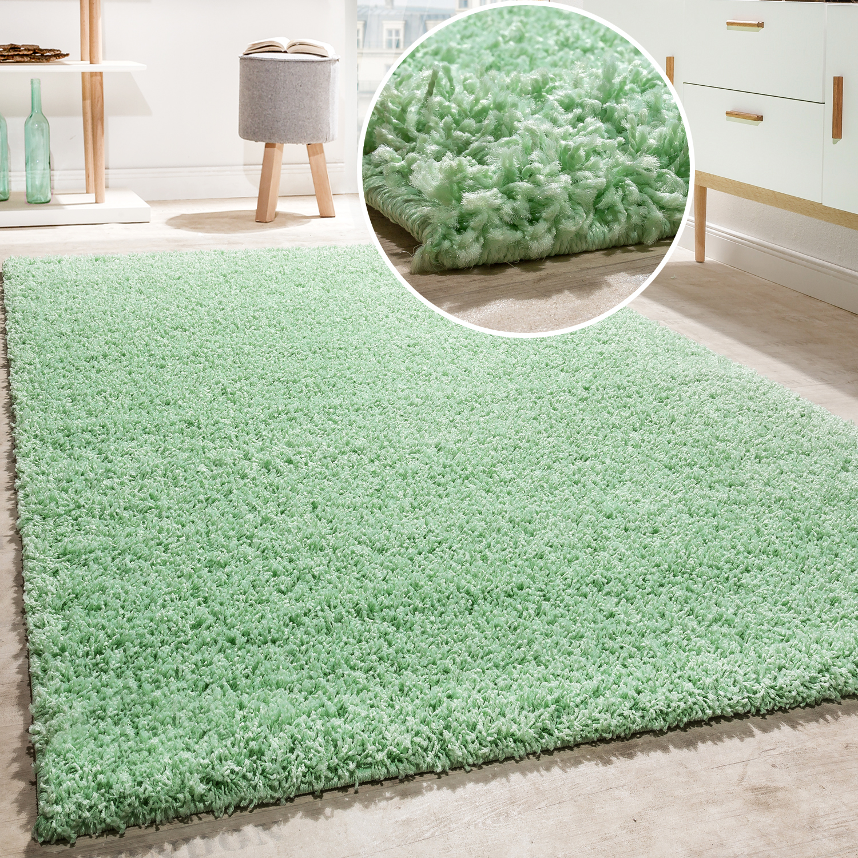 shaggy teppich hochflor langflor hochwertig teppiche uni in mint gr n ausverkauf restposten. Black Bedroom Furniture Sets. Home Design Ideas