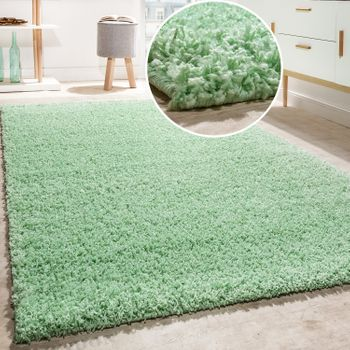Shaggy Rug Deep pile long pile High Quality High thread density Mint Green SALE – Bild 1