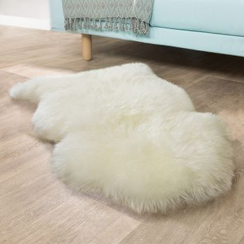 Australian Sheepskin Bedside Rug Natural White