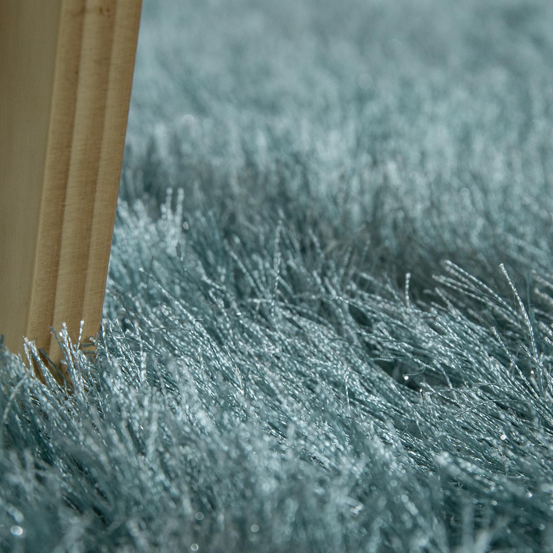shaggy hochflor teppich modern soft garn mit glitzer in uni pastell t rkis teppiche hochflor. Black Bedroom Furniture Sets. Home Design Ideas