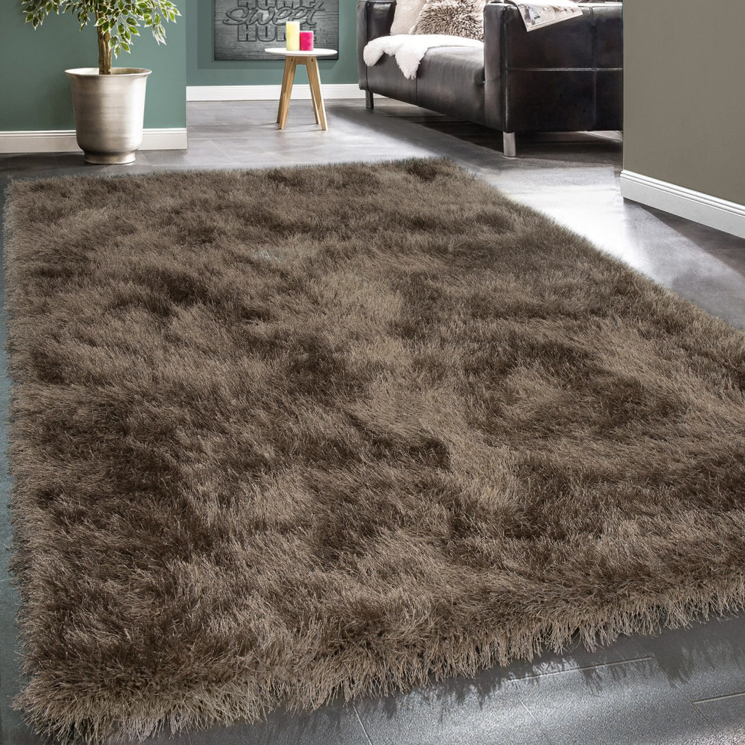 shaggy hochflor teppich modern soft garn mit glitzer in uni braun beige teppiche hochflor teppiche. Black Bedroom Furniture Sets. Home Design Ideas