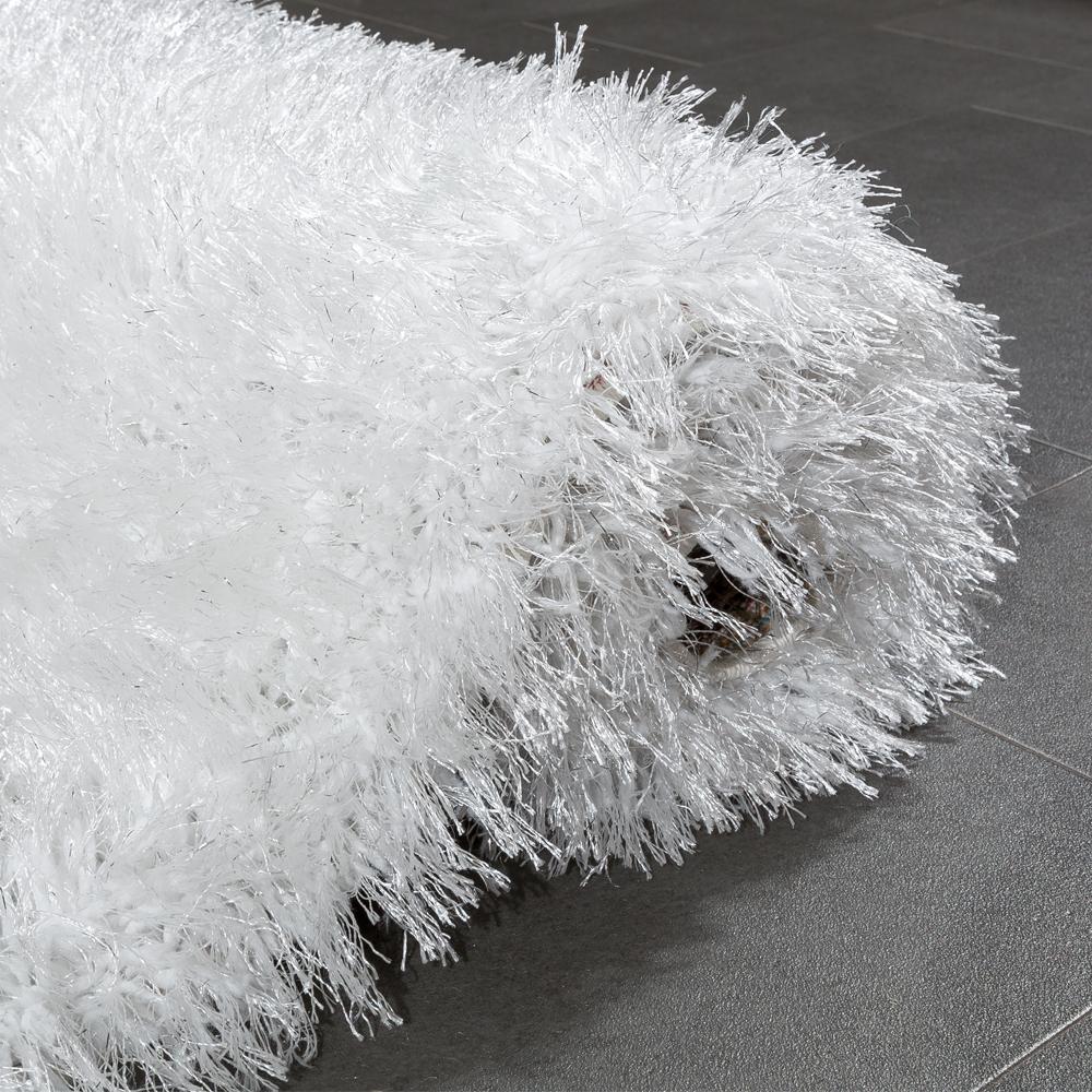 shaggy teppich glitzer in wei hochflor teppiche. Black Bedroom Furniture Sets. Home Design Ideas