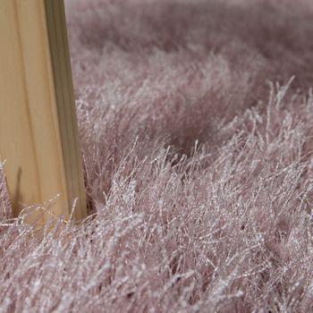 Moderner Wohnzimmer Shaggy Hochflor Teppich Soft Garn In Uni Pastell Rosa – Bild 3