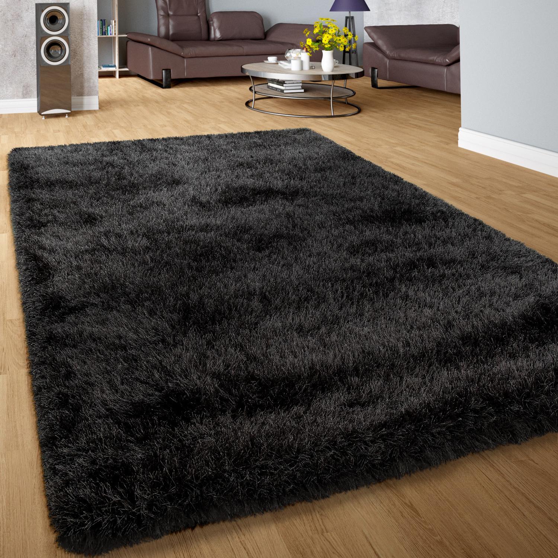 Shaggy Deep-Pile Rug Modern Soft Yarn Gloss Fibres In Plain Anthracite