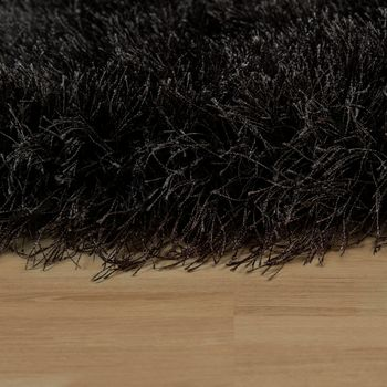 Shaggy Deep-Pile Rug Modern Soft Yarn Gloss Fibres In Plain Anthracite  – Bild 2