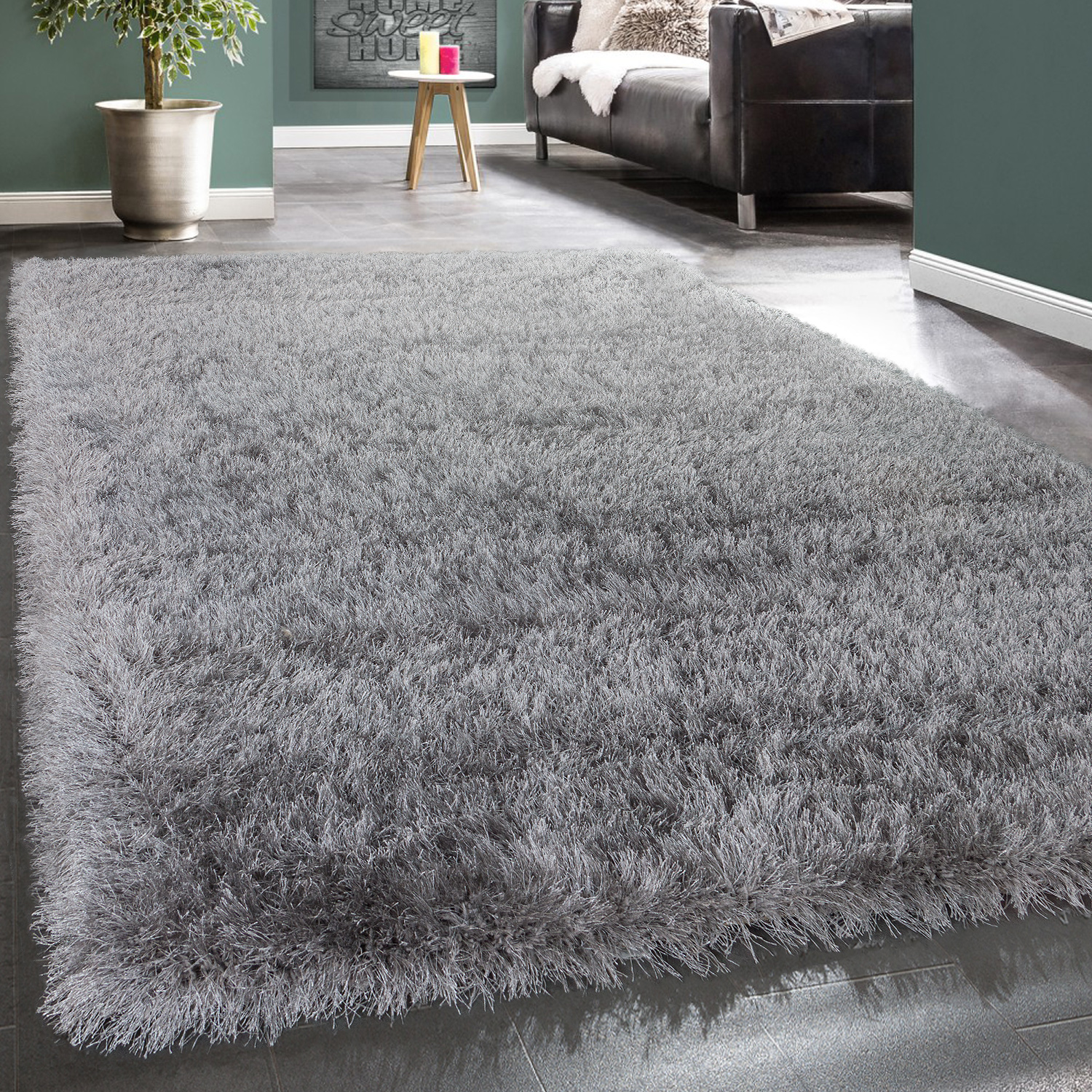 Shaggy Deep-Pile Rug Modern Soft Yarn Gloss Fibres In Plain Light Grey