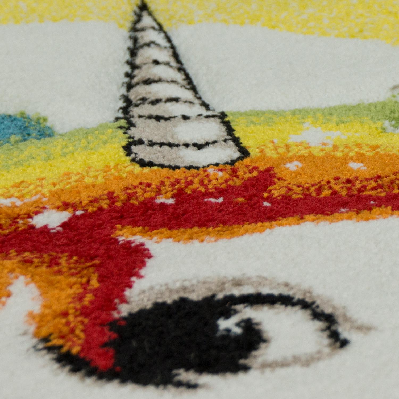 Gr/össe:/Ø 120 cm Rund Paco Home Kinderteppich Rund XXL 180 cm /Ø 160 cm /Ø 120 cm /Ø Regenbogen Einhorn Beige Bunt