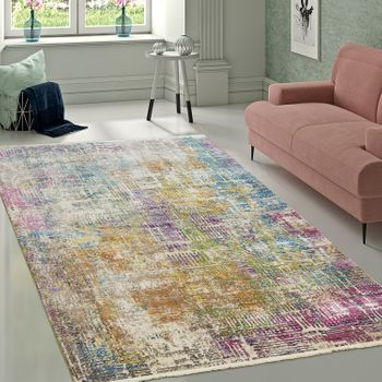 Designer Living Room Rug High Quality Modern Shabby Chic Pastel Colours Colourful – Bild 1
