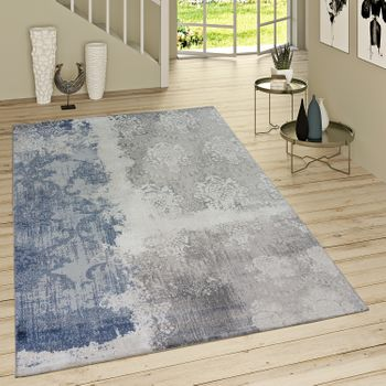 Short-Pile Rug Denim Look With Rococo Pattern Denim Blue Modern Mottled Grey – Bild 1