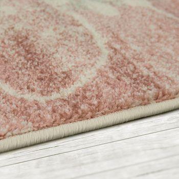 Designer Rug Living Room Short-Pile Modern Floral Pattern Pastel Pink – Bild 2