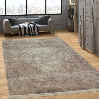 Designer Rug Baroque Antique Colours Look Short-Pile Copper Tones In Brown Beige – Bild 1