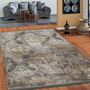 Designer Rug Short-Pile Ornaments Baroque Look High-Quality In Grey Gold Cream – Bild 1