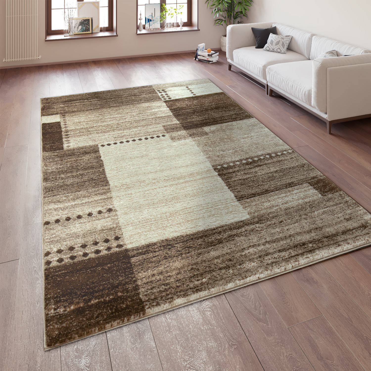 Designer Rug Checked Pattern Brown 001
