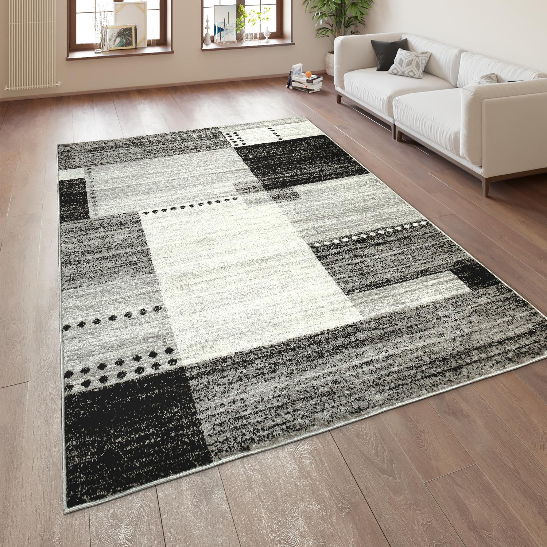 Designer Teppich Kurzflor Wohnzimmer Meliert Karo Muster In Grau Schwarz Weiß