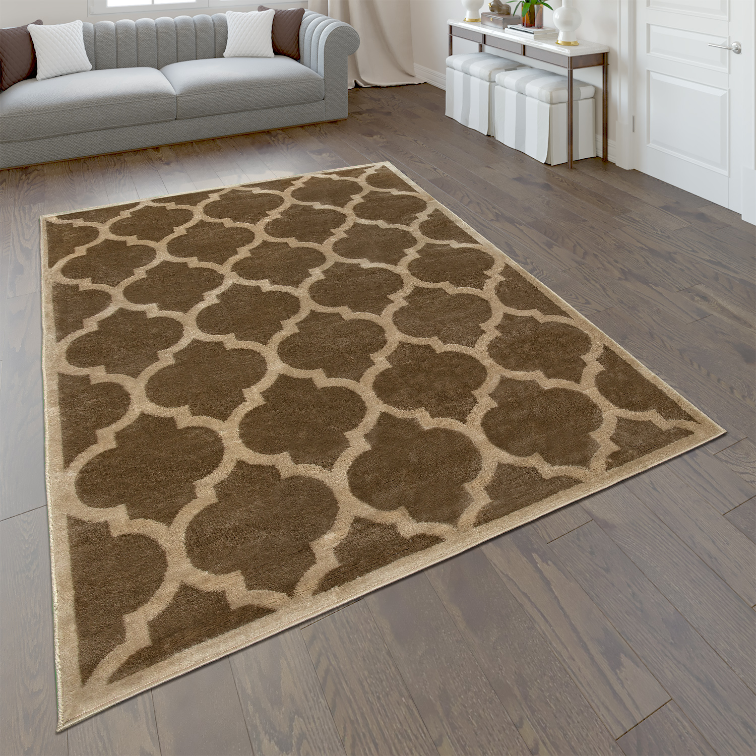 tapis de cr ateur salon tapis tiss plat moderne tendance tapis brun beige tapis optique orientale. Black Bedroom Furniture Sets. Home Design Ideas